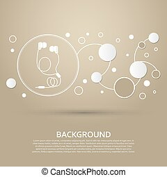 Headphones icons on a brown background with elegant style and modern design infographic. Vector