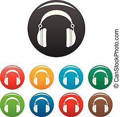 Headphones icons set color