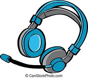 Headphones, illustration, vector on white background.