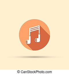 headphones in the form of a musical note isolated vector round flat icon with long shadow