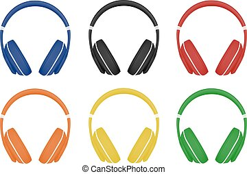 headphones in vector on white background