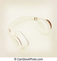 Headphones Isolated on White Background . 3D illustration. Vintage style.