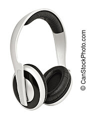 Headphones, isolated on white background - Closeup image of...