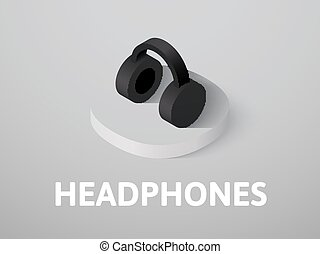 Headphones isometric icon, isolated on color background