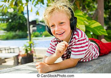 headphones, jonge, muziek, positief, het luisteren, kind