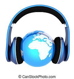 headphones., la terre, musique, mondiale, concept