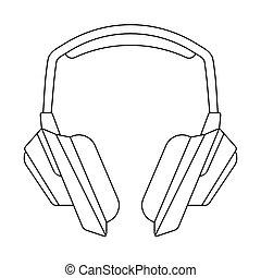 Headphones linear vector illustration on white background