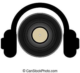 headphones listening to a record lp - illustration