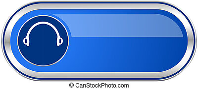 Headphones long blue web and mobile apps banner isolated on ...