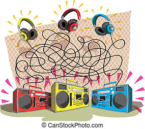 Headphones Maze Game for children. Hand drawn illustration in eps10 vector mode. Task: Match each headphone (color) with tape recorder (color)! Answer: yellow to blue, red to yellow, blue to red.