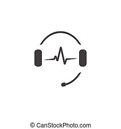 Headphones microphone, music sound waves, radio station logo