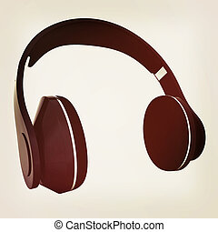 Headphones of carbon material. 3D illustration. Vintage style.