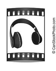 Headphones of carbon material. The film strip