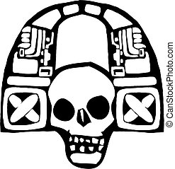 Headphones of the Maya #1 - Mayan Skull spinning music and...