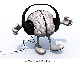 headphones on a big brain with arms and legs - pair of...