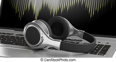 Headphones on a laptop. 3d illustration