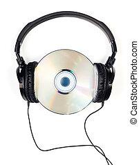Headphones on CD - Headphones with CD on white background