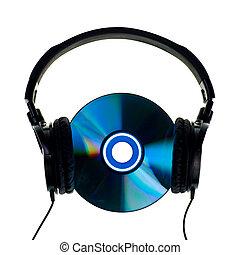 HI-Fi headphones with audio CD on white background