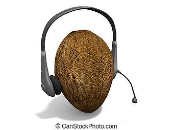 Headphones on coconut