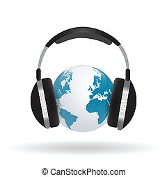 Headphones on Globe
