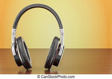 Headphones on the wooden table. 3D rendering