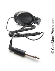 Headphones on white background - equipment for sound...