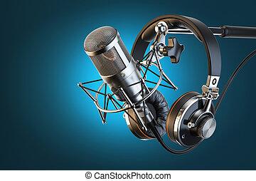 headphones, op, microfoon keet, professioneel, studio