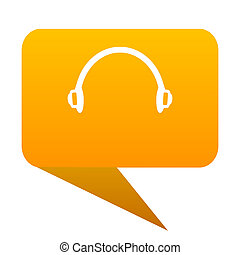 headphones orange bulb web icon isolated.