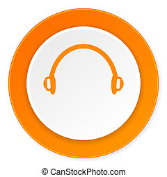 headphones orange circle 3d modern design flat icon on white...