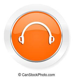headphones orange computer icon - orange computer icon