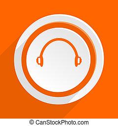 headphones orange flat design modern icon for web and mobile...