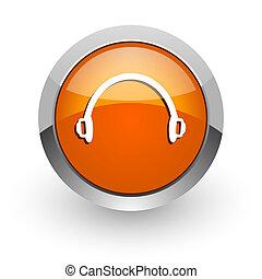 headphones orange glossy web icon