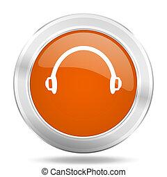 headphones orange icon, metallic design internet button, web...