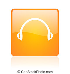 headphones orange square glossy web icon