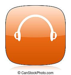 headphones orange square web design glossy icon