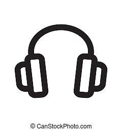Headphones outline icon isolated on white background