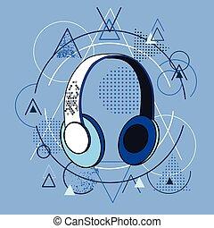 Headphones Over Triangle Geometric Background