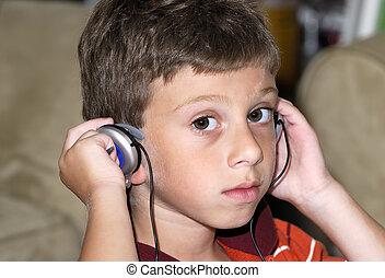 Headphones - Young Boy Wearing Headphones