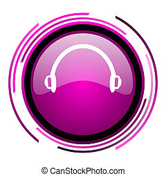Headphones pink glossy web icon isolated on white background