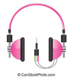 Headphones pink illustration