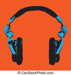 Headphones Pop Art vector - Headphones Pop Art Dj Style