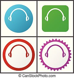 Headphones red, blue, green and pink vector icon set. Web ...