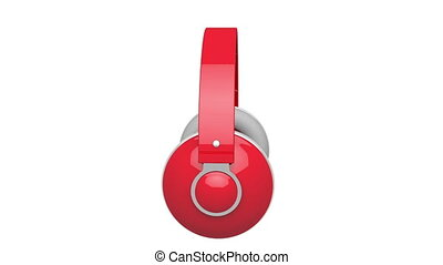 Headphones - Red DJ headphones rotates on white background