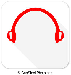 headphones red flat icon with long shadow on white ...