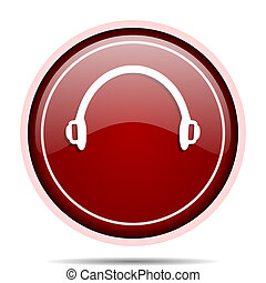 Headphones red glossy round web icon. Circle isolated ...