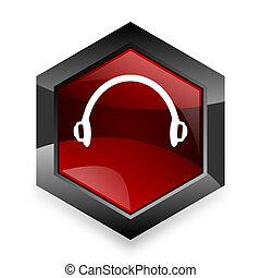 headphones red hexagon 3d modern design icon on white ...