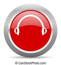 headphones red metallic chrome web circle glossy icon - ...
