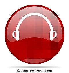 headphones red round circle glossy modern design web icon - ...