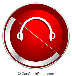 Headphones red web icon. Metal shine silver chrome border ...