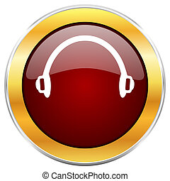Headphones red web icon with golden border isolated on white...